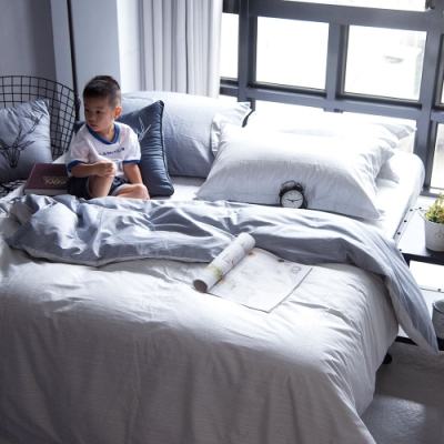 OLIVIA  諾亞 淺灰X灰  雙人全鋪棉床包兩用被套四件組 歐式枕套 200織精梳純棉