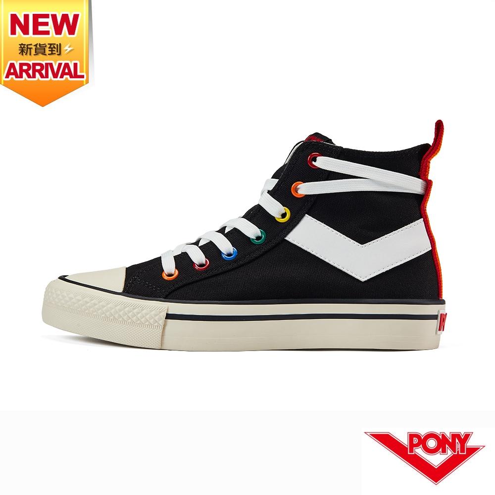 【PONY】Shooter帆布鞋 高筒 彩虹後跟 休閒鞋 男鞋/女鞋-黑色