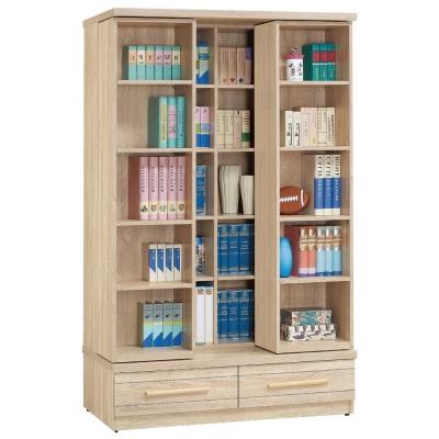 品家居 維克日式4尺橡木紋活動書櫃