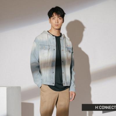 H:CONNECT 韓國品牌 男裝-PLAY拼接連帽牛仔外套-藍(快)