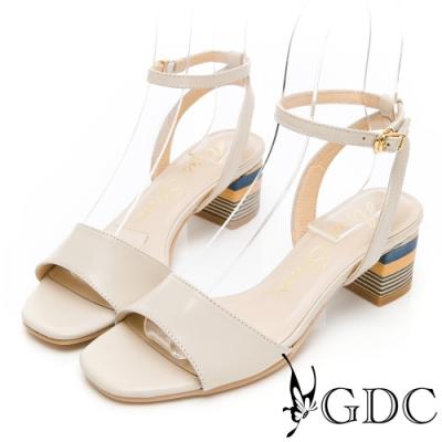 GDC-夏日繽紛真皮一字粗跟繞帶涼鞋-米色