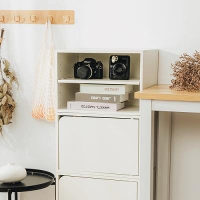 樂嫚妮 二層收納櫃/空櫃/書櫃/門櫃-層板可抽-純白色2入組-42X28.2X28.8cm