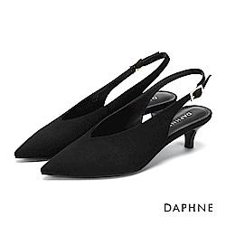 達芙妮DAPHNE 高跟鞋-方釦繞踝繫帶尖頭高跟鞋-黑