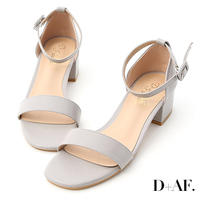 D+AF 完美夏日.一字繫踝方頭低跟涼鞋*灰