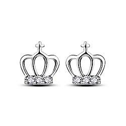 米蘭精品 925純銀耳環-鑲鑽皇冠耳環