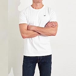 海鷗 Hollister HCO 經典刺繡藍標誌素面短袖T恤-白色