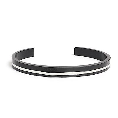 agnes b. 經典雙色C型白鋼男手環(黑)