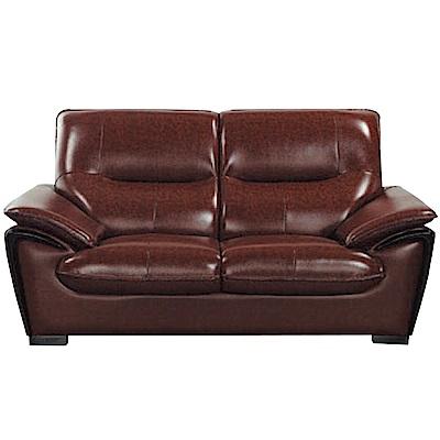 品家居 薛曼復古咖油臘皮革二人座沙發椅-170x102x93cm免組