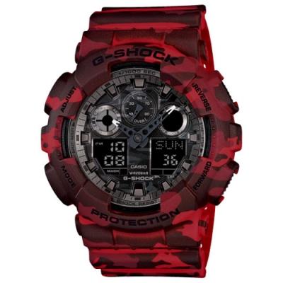 CASIO卡西歐G-SHOCK迷彩潮流時尚腕錶-迷彩紅(GA-100CM-4)