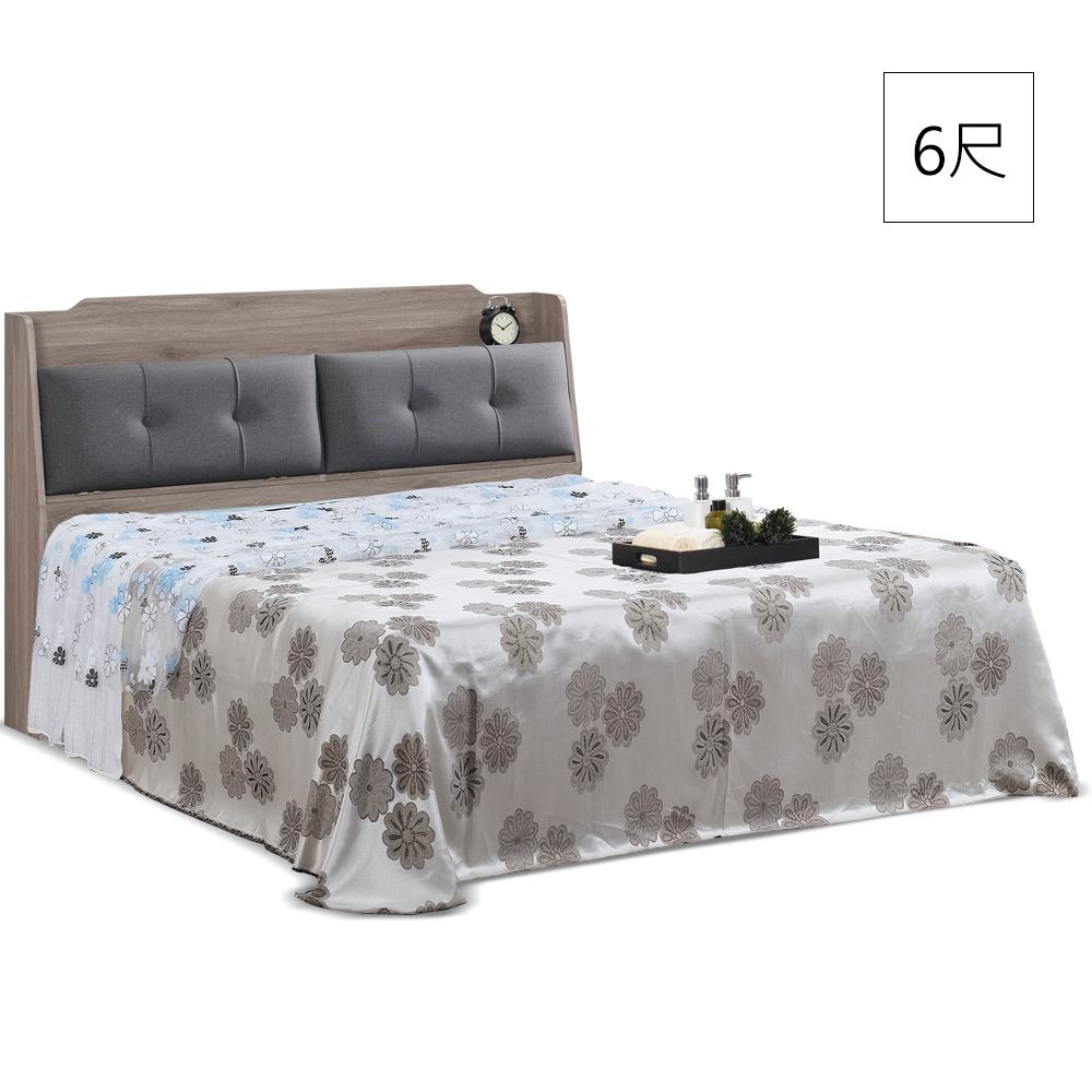 凱曼  科爾橡木色6尺收納雙人床組(床頭箱+床底)-2件式