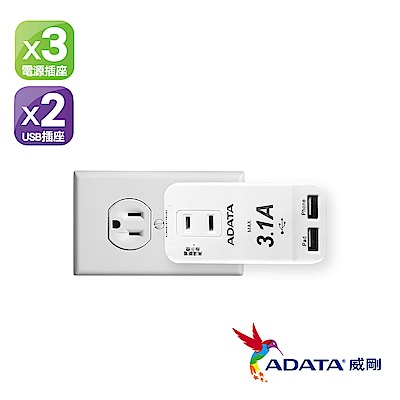ADATA威剛 3孔2P2USB埠 自動高溫斷電 多孔轉接器