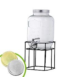 韓國Reeves維思 大容量玻璃梅森果汁派對桶-方形8.0L附架(2色可選)