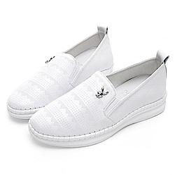 PLAYBOY 真皮沖孔休閒樂福鞋-白-Y529711
