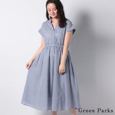 Green Parks 清新條紋V領連身洋裝