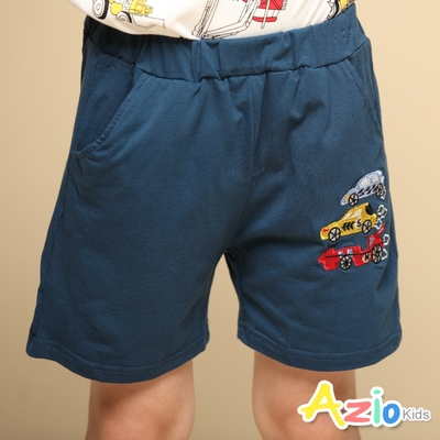 Azio Kids 男童 短褲 刺繡小賽車棉質運動休閒短褲(藍)