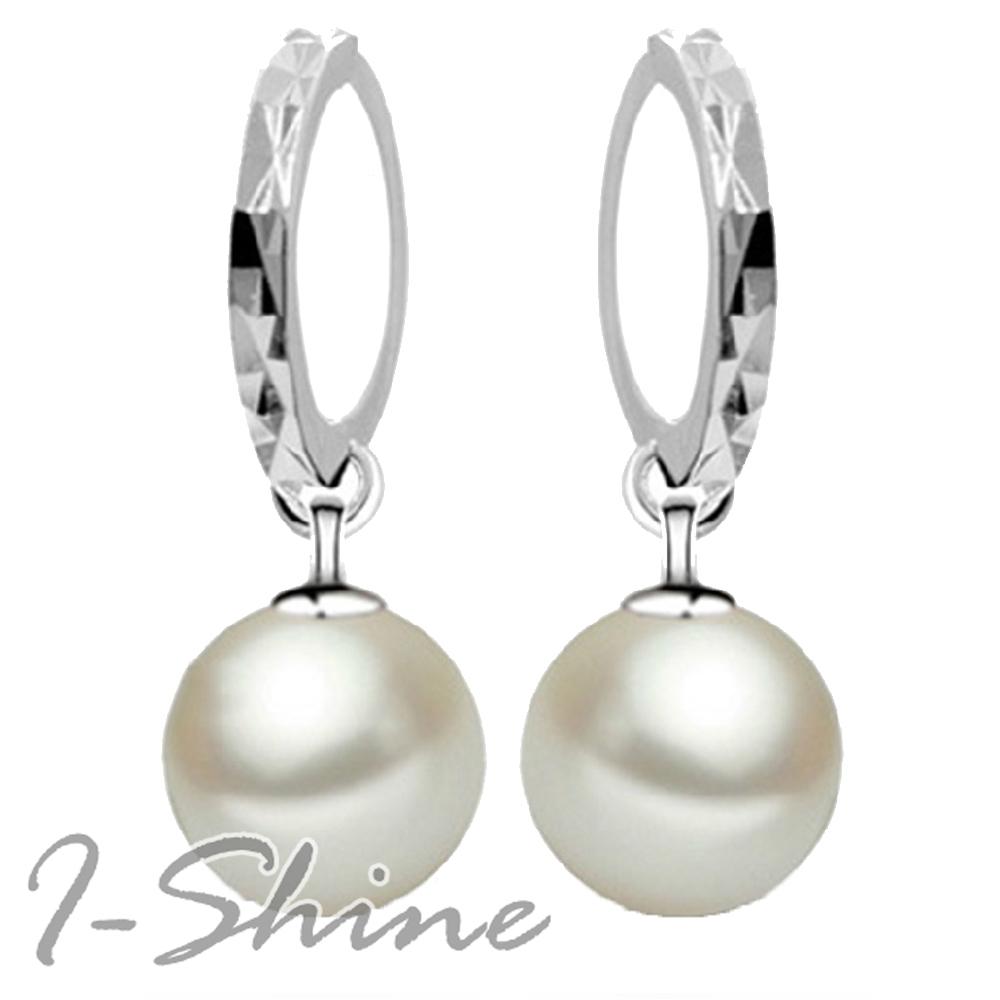 I-Shine-亮麗甜心-正白K-氣質珍珠圓弧造型耳環DB18