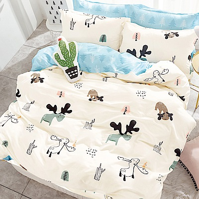 Ania Casa麋鹿 加大三件式 100%精梳棉 台灣製 床包枕套純棉三件組