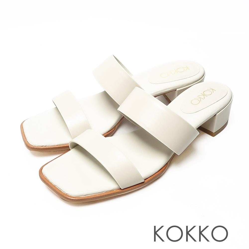 KOKKO極簡時髦方頭一字帶粗跟牛皮涼拖鞋白色