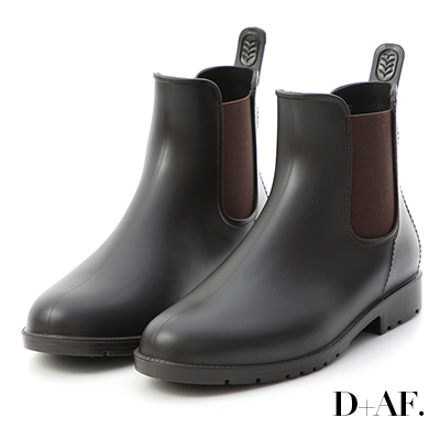 D+AF 晴雨二穿.側鬆緊切爾西短雨靴*咖