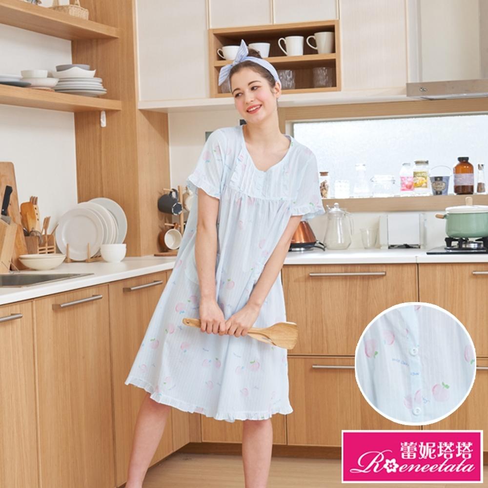 睡衣 可愛水蜜桃 微透感短袖連身睡衣(R05003兩色可選) 蕾妮塔塔