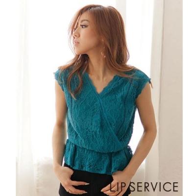 LIP SERVICE 蕾絲V領上衣(2色)