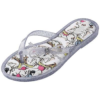Melissa 幻想樂園印花時尚夾腳拖-灰色