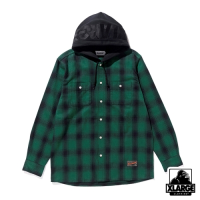 XLARGE  HOODED FLANNEL SHIRT格紋帽T-綠