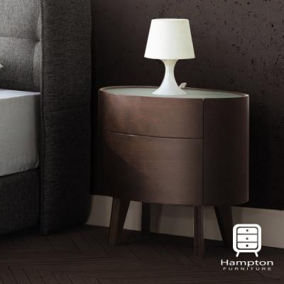 Hampton哈雷爾玻璃面二抽床頭櫃-60*42*60cm