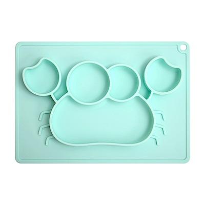 EXPECT兒童矽膠餐盤-螃蟹款-藍色