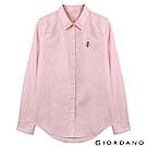 GIORDANO 女裝經典刺繡彈力牛津紡長袖襯衫-78 薄紗粉