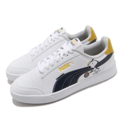 Puma 休閒鞋 Peanuts Shuffle 史努比 女鞋 基本款 簡約 聯名 舒適 大童 穿搭 白 藍 37573901
