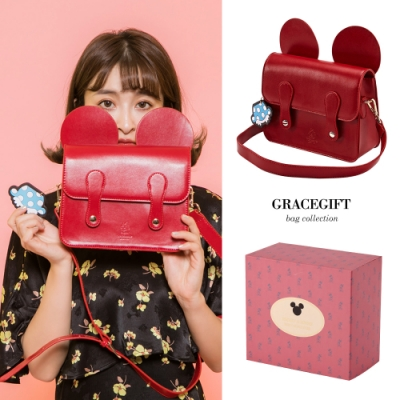 Disney collection by gracegift米妮立體耳朵劍橋包 紅