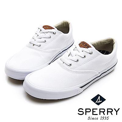 SPERRY Striper 潮流進化吸震減壓帆布休閒鞋(情侶中性款)-白