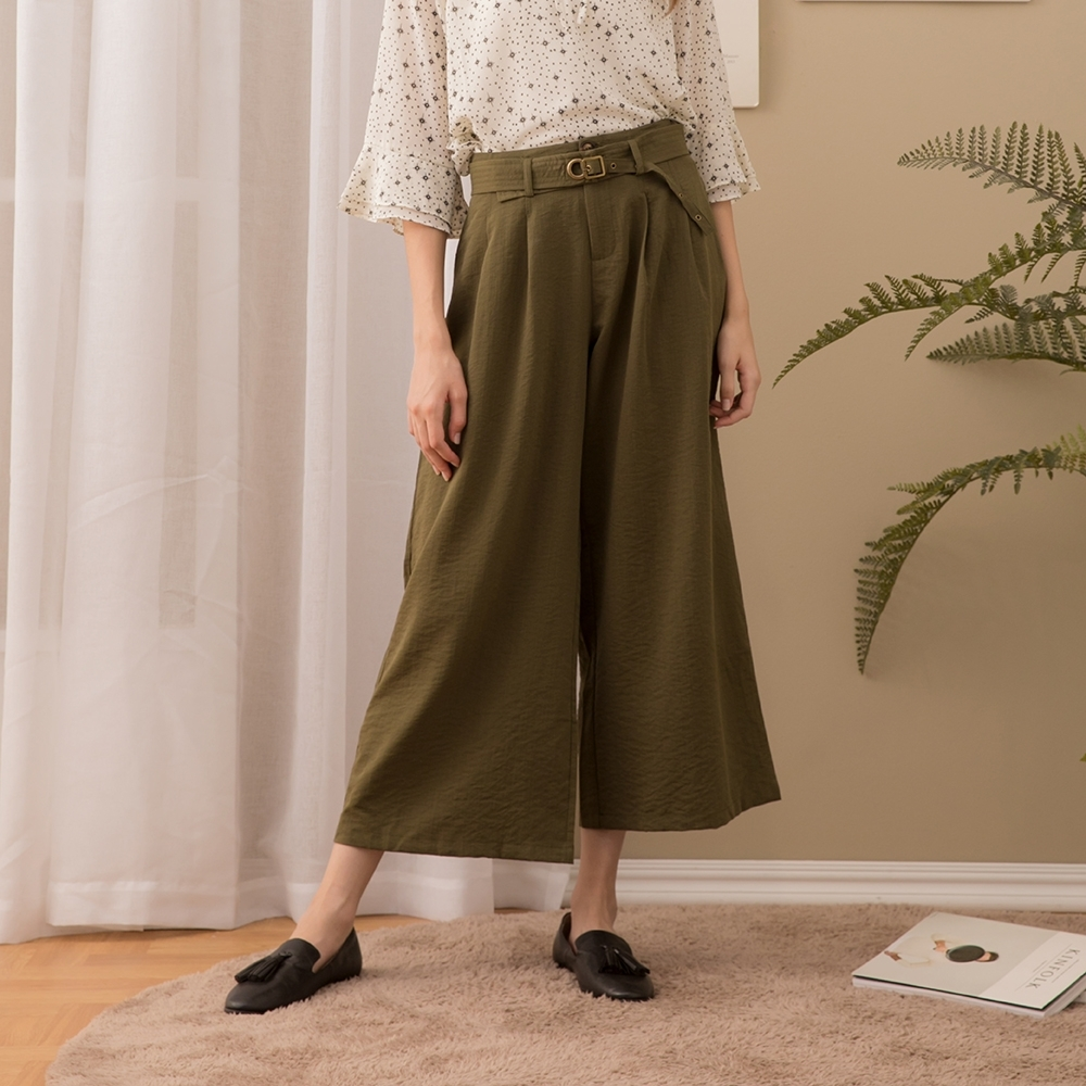 【CUMAR】腰帶造型寬褲-褲子(二色/版型顯瘦)
