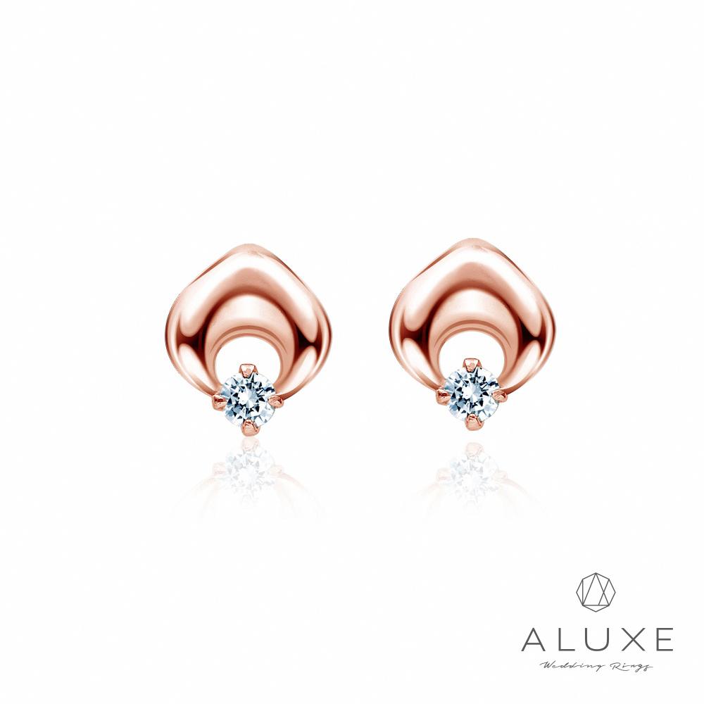 ALUXE亞立詩My Angel 10K玫瑰金 鑽石耳環