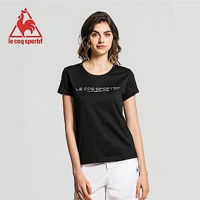 le coq sportif 法國公雞牌前胸燙鑽LOGO圓領短袖T恤 女-黑