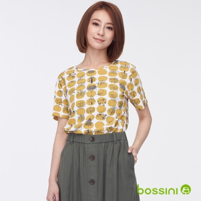 bossini女裝-圓領全版印花上衣06芥黃