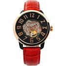 Tendence 天勢 晶鑽玫瑰小鏤空機械手錶-珍珠貝x紅/48mm TY492002