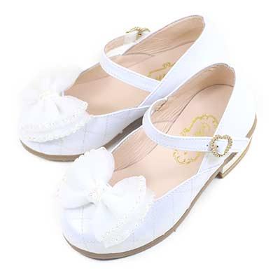 Swan天鵝童鞋-閃亮水鑽菱格紋小高跟公主鞋3868-白