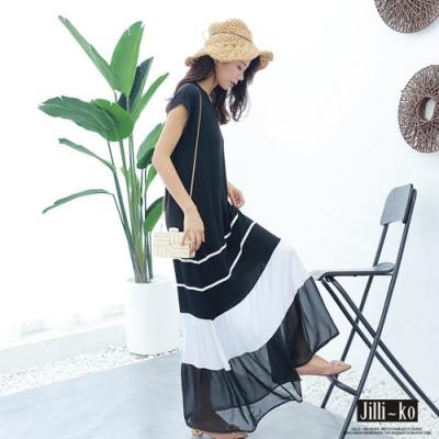 JILLI-KO 雪紡拼接蛋糕層莫代爾連衣裙- 黑色