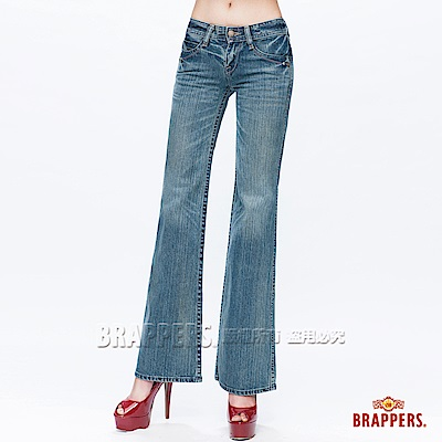 BRAPPERS 女款垮褲系列-花型金蔥綉花大靴型褲-藍