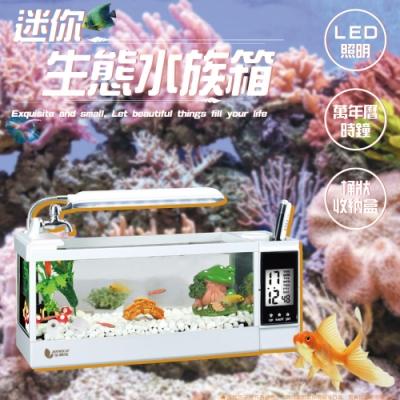LED照明/電子時鐘日歷/文具收納 多功能桌上型魚缸水族箱 迷你玻璃水族箱魚缸