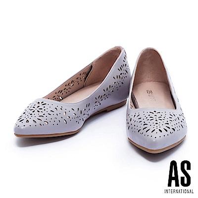 低跟鞋 AS 春日浪漫沖孔造型尖頭內增高低跟鞋-紫