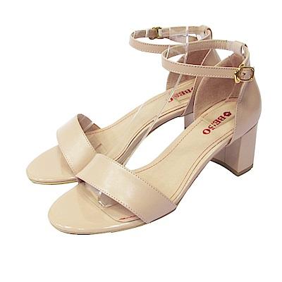 BESO  粉嫩夏季 一字帶細帶繫踝粗跟涼鞋~粉