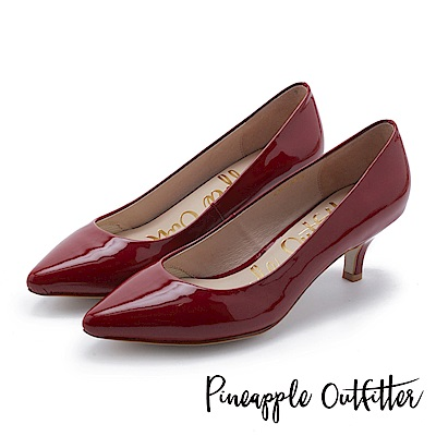 Pineapple Outfitter 簡約風尚 素面尖頭中跟鞋-鏡紅