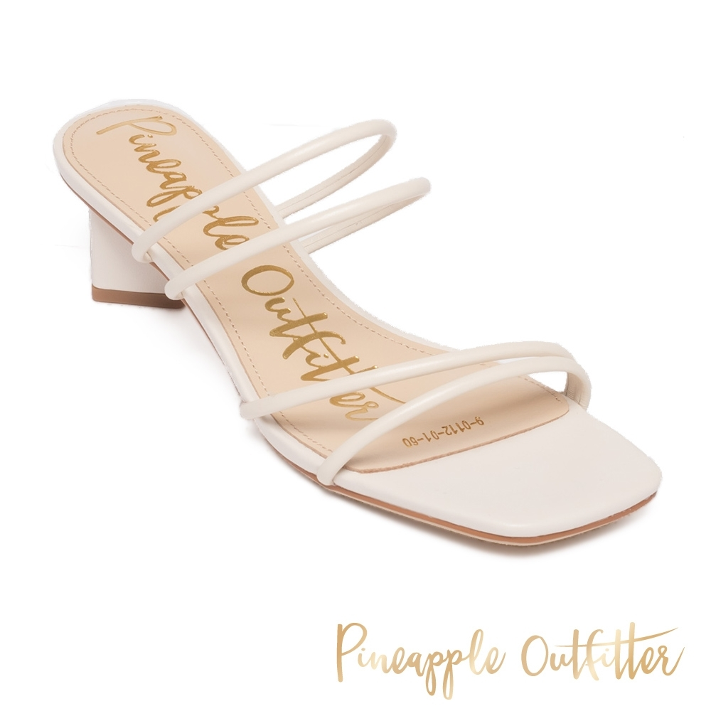 Pineapple Outfitter - HESSA 氣質優雅 兩穿式真皮雙細帶菱形粗跟涼拖鞋 - 白色