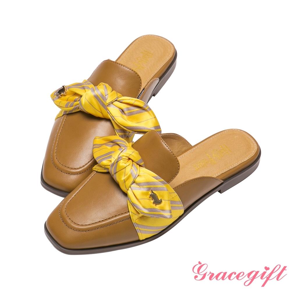 Grace gift-哈利波特赫夫帕夫學院蝴蝶結穆勒鞋 駝