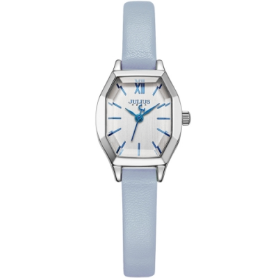 (時時樂限定) JULIUS聚利時 橡樹風情立體切割鏡面皮帶錶 五色/20.5X18mm