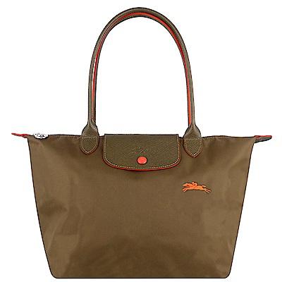 Longchamp Collection尼龍布刺繡品牌長背帶水餃包(卡其色/小)