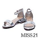 涼鞋 MISS 21 搶眼視覺一字帶金屬羊皮繫帶低跟涼鞋-銀